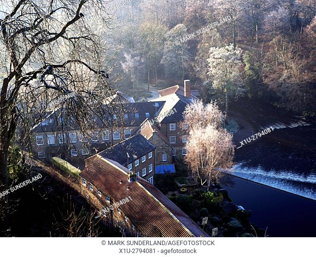 Castle Mills by the River Nidd in Winter Knaresborough North Yorkshire England