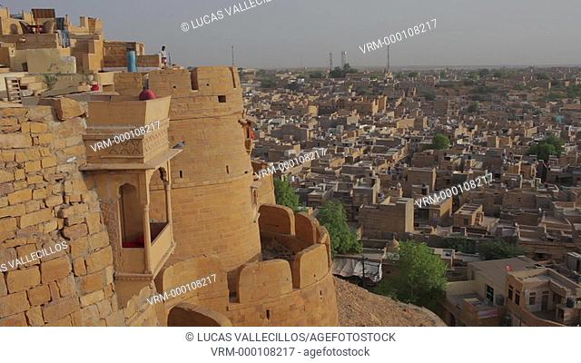 Rampart of the fort and city rooftops,Jaisalmer, Rajasthan, India