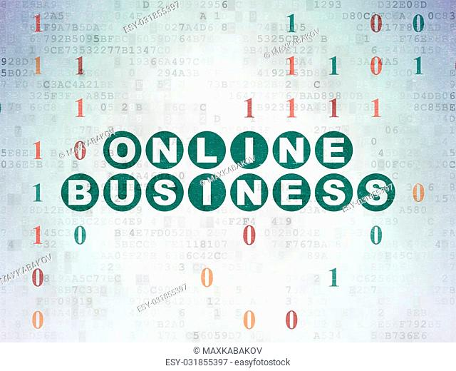 Business concept: Painted green text Online Business on Digital Paper background with Binary Code, 3d render
