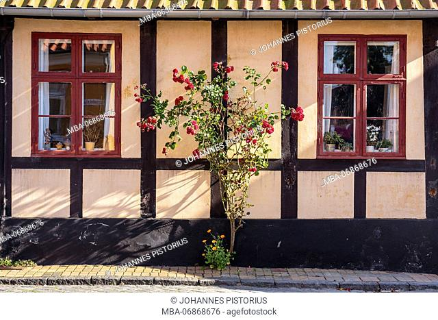 Idyllic, old half-timbered house in Rønne, Europe, Denmark, Bornholm