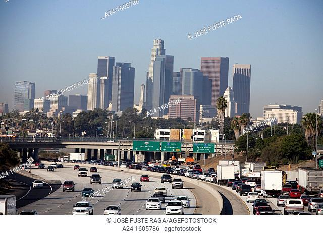 USA-California-Los Angeles City-Downtown Skyline and freeway