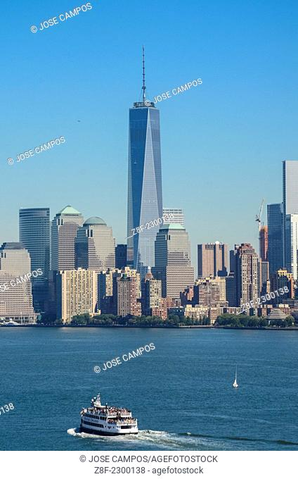 Liberty Island. View of Manhattan and boats