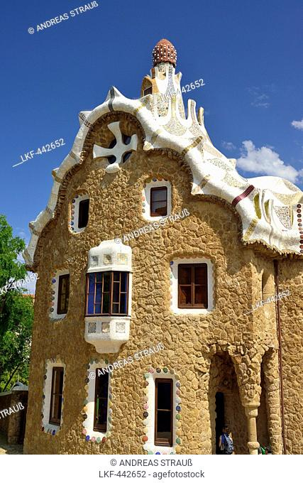 Casa del Guarda, Park Guell, architect Antoni Gaudi, UNESCO World Heritage Site Park Guell, Catalan modernista architecture, Art Nouveau, Barcelona, Catalonia