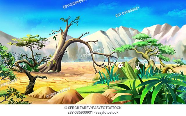 Digital painting of the African Savannah in a summer day with lonely tree and mountains on background