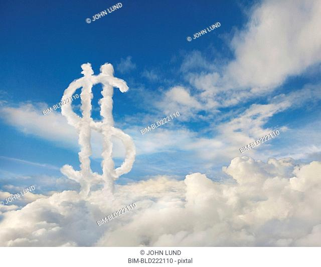 Dollar sign in cloudy sky