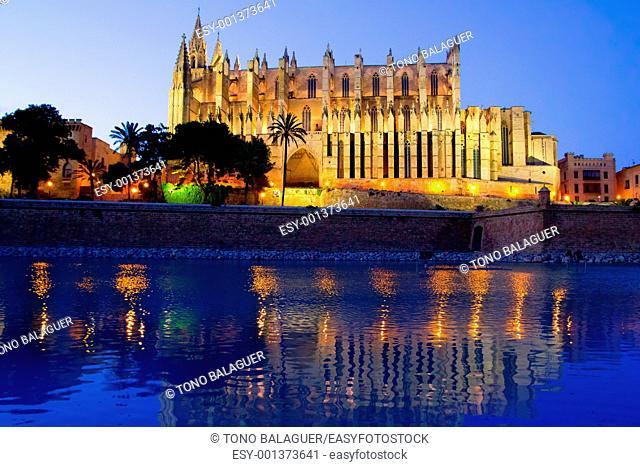 Cathedral of Palma de Mallorca La Seu night view and lake mirrored reflection