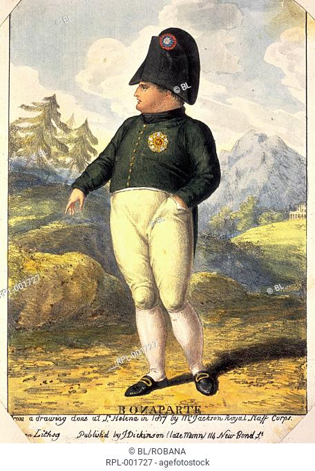 Napoleon Bonaparte in exile. Portrait. Image taken from A St Helena Who' Who Extra-illustrated with over two hundred portaits and views collected arranged and...