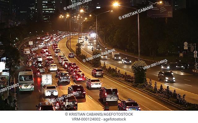 Heavy traffic in downtown Jakarta, Java, Indonesia, Southeast Asia