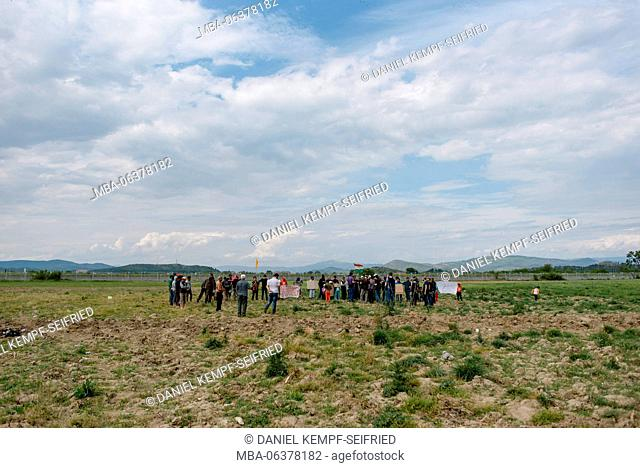 Demo in the refugee camp of Idomeni in Greece at the frontier to Macedonia, April, 2016
