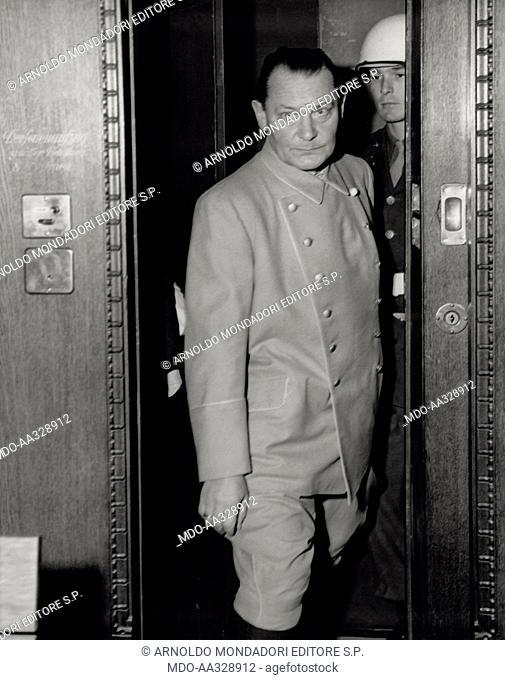 Defendants of war crimes. The former Marshal Hermann Goering enters into the International War Crimes Tribunal. Nuremberg, November 1945