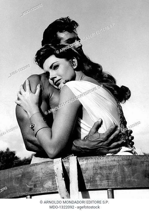 Sylva Koscina and Steve Reeves in 'Hercules'. Croatian-born Italian actress Sylva Koscina and American actor and athlete Steve Reeves acting in the film...