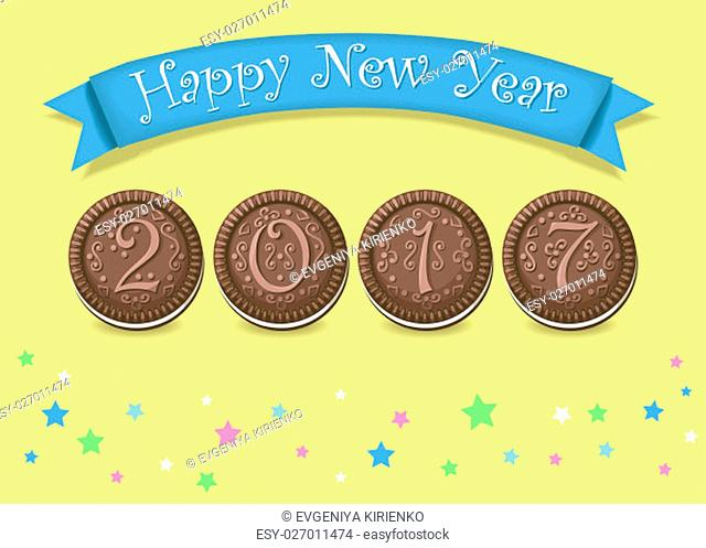 Happy New Year 2017. Calendar template. Hand drawn symbols. Chocolate cookies with graceful decor. Celebration background with confetti stars