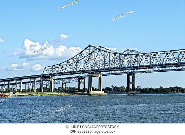 New Orleans, LA, Mississippi River, Crescent City Connection Bridge. Close-up on the Algiers Side