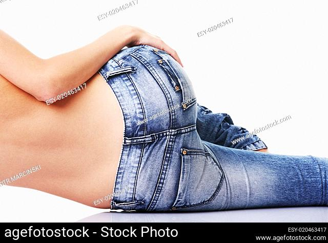 Fit female butt in jeans, isolated on white