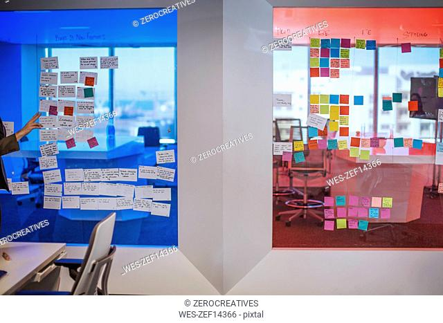 Sticky notes on a glass pane in modern office