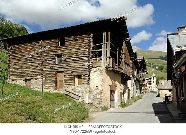 Pierre-Belle District with Wooden Houses at Saint-Véran Queyras Hautes-Alpes French Alps France