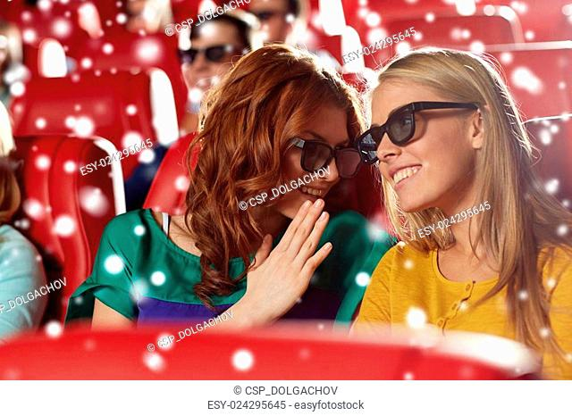 happy women in 3d glasses watching movie at cinema
