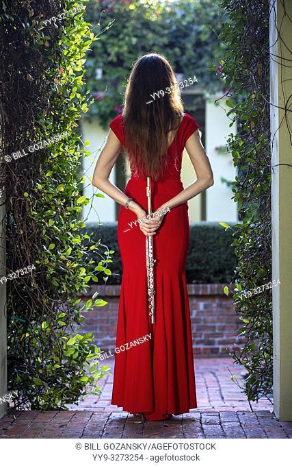 Portrait of professional flutist [Alla Sorokoletova] in elegant red dress - Boca Raton, Florida, USA