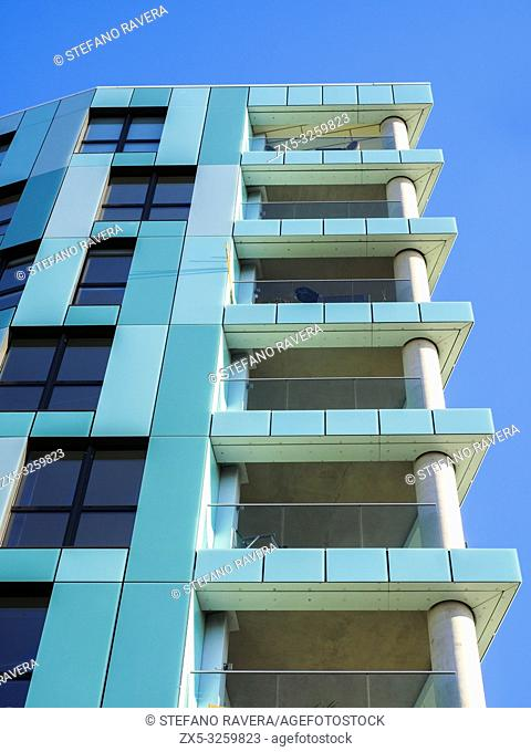 Modern apartment buildings in Enderby Wharf Greenwich - South East London, England