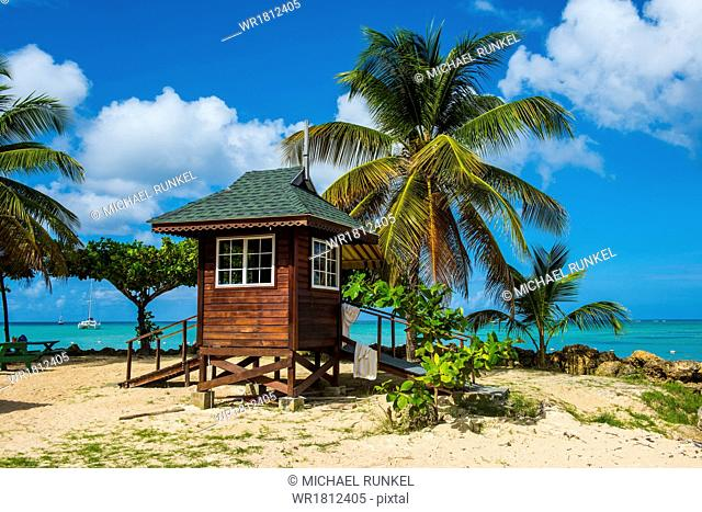 Baywatch tower on Pigeon Point, Tobago, Trinidad and Tobago, West Indies, Caribbean, Central America