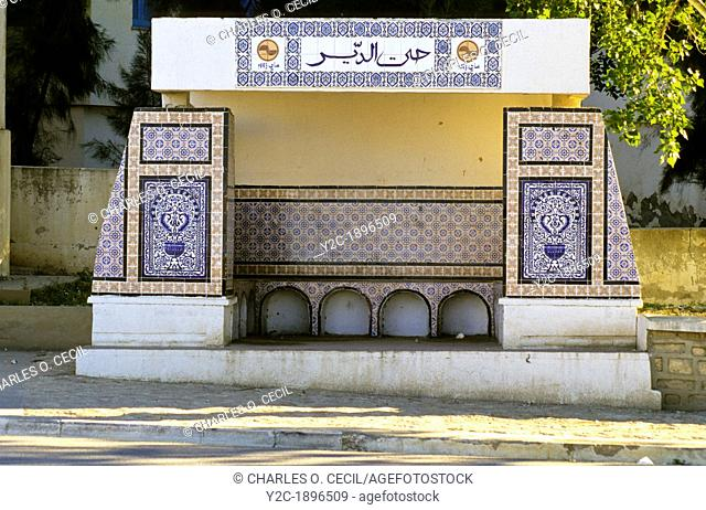 Tunisia, Le Kef  Tiles decorate city bus stop shelter
