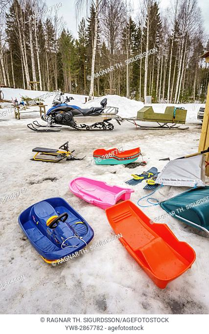 Snowmobiles and sleds, Lapland, Sweden