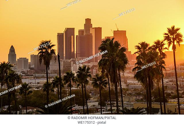 Los Angeles skyline sunset, California, USA