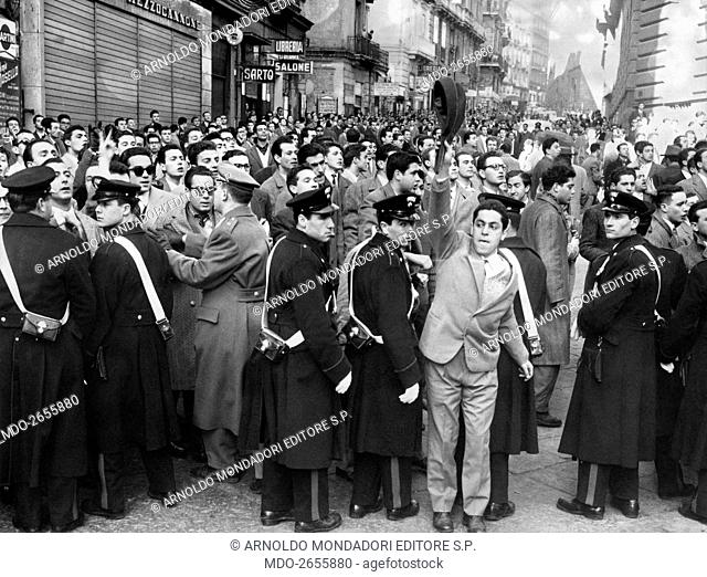 Several Neapolitan students attending a demonstration. Naples, January 1958