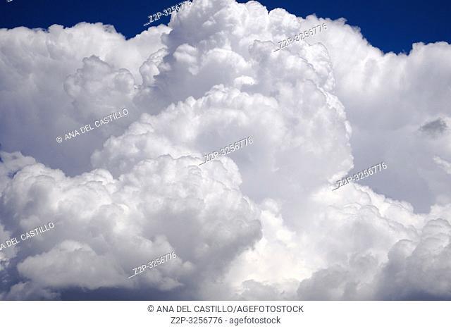 Cumulus Puffy Clouds Gudar mountains Teruel Spain