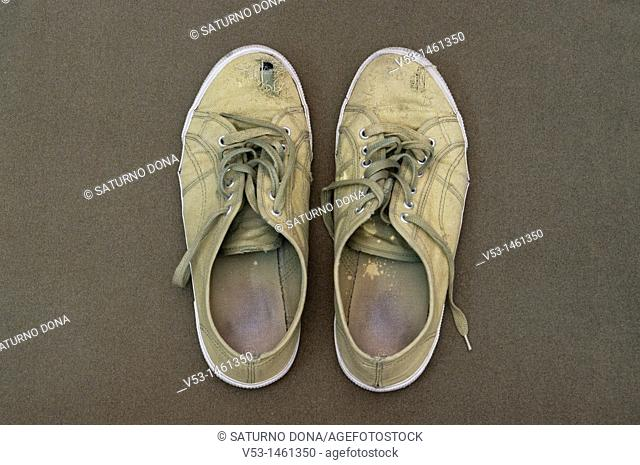 old green canvas sneakers