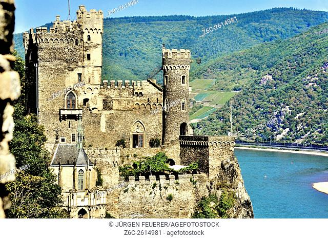 Close view of Rheinstein Castle above the Rhine, Upper Middle Rhine Valley, Germany