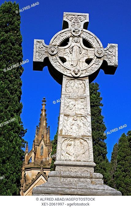 Sculpture Cross, Cemetery of Montjuic, Barcelona, Catalonia, Spain