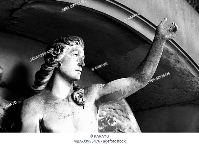 grave yard, grave, statue, angels, sidewards, s/w