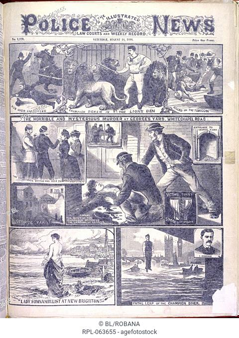 Murder at George's Yard 'The horrible and mysterious murder at George's Yard. Whitechapel Road'. Illustrations relating to the Whitechapel or 'Jack the Ripper'...