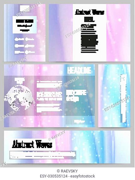 Set of business templates for presentation, brochure, flyer, banner or booklet. Abstract wave vector background