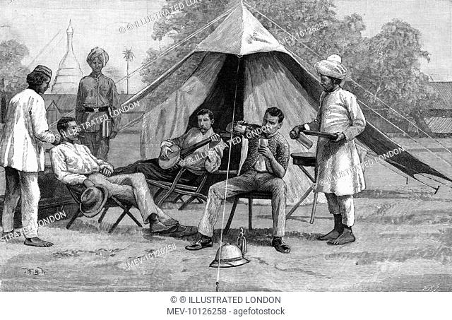 Officers relax after a hard day bashing rebels who resent British presence in their country