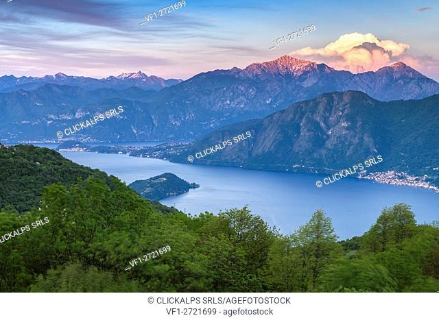 Sunset over Lake Como, Bellagio and Grigna from Pigra, Lombardy, Italy