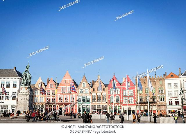 Grand place, Main square, Bruges, Belgium