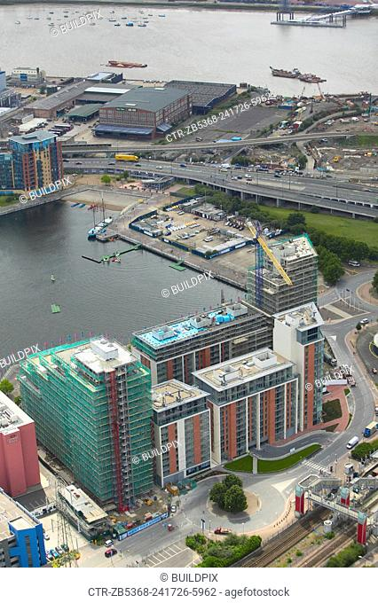 Aerial view of large property development - Capital East, Barratt - on the Royal Victoria Dock, near Canary Wharf, Thames Gateway, London, UK
