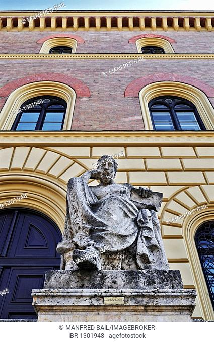 Hippocrates in front of the Bavarian State Library, Munich, Bavaria, Germany, Europe