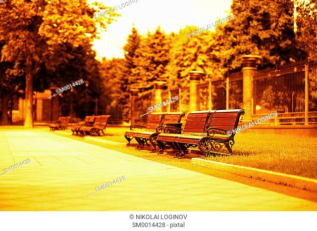 Horizontal orange city bench background hd