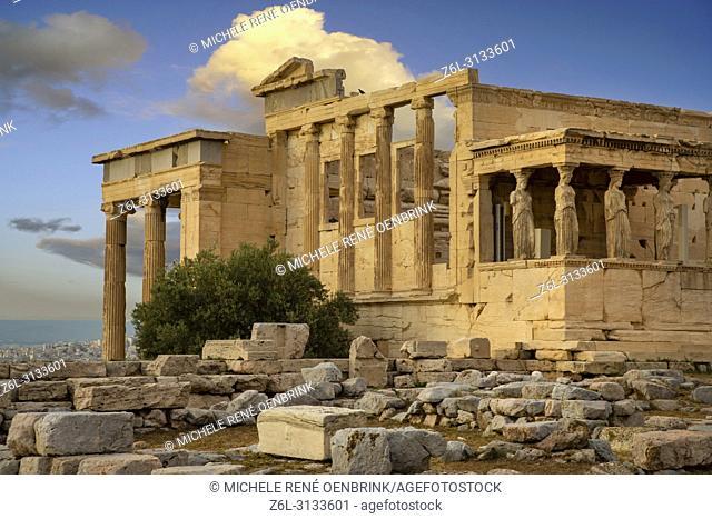 Caryatids Erechtheion on Parthenon Athens Greece