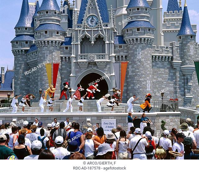 Disney Dancer in front of Cinderella Castle, Disney World, Orlando, Florida, USA
