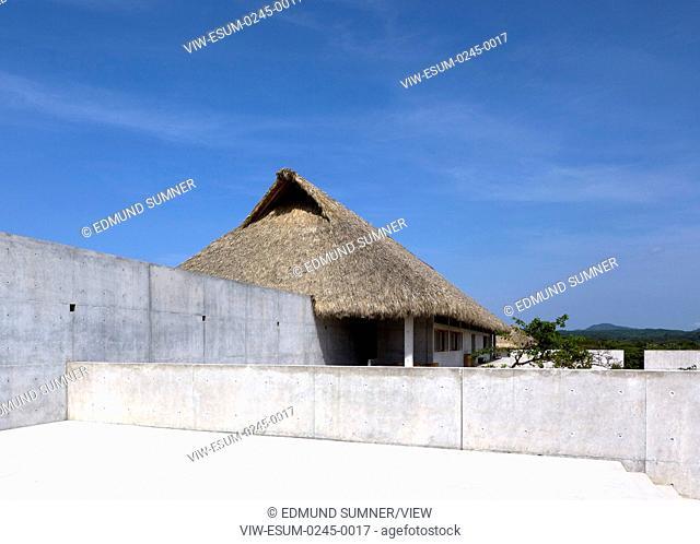Side view towards communal palapa. Casa Wabi, Puerto Escondido, Mexico. Architect: Tadao Ando, 2015