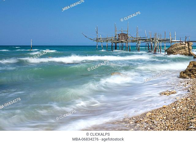 View of Costa dei Trabocchi, Trabocco is an old fishing machine typical of the coast of Abruzzo District, Adriatic Sea, Italy