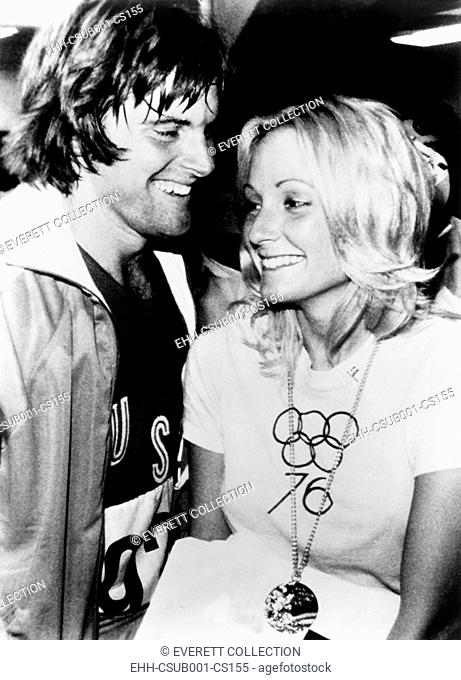 Bruce Jenner with wife Chrystie Crownover who wears his Olympic Gold Medal. A few months earlier he won the decathlon in the 1976 Summer Olympic Games in...