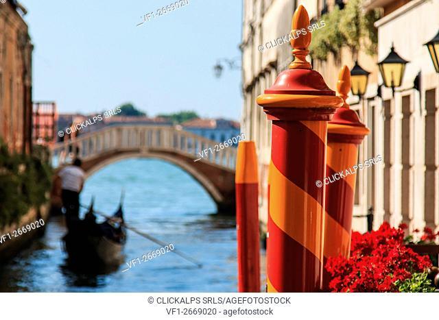 Gondola on a small canal near Saint Mark Square, Venice, Italy