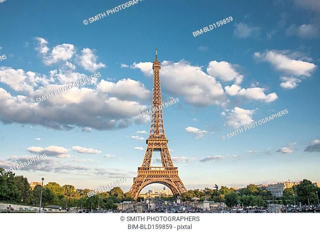 Eiffel Tower over Paris cityscape, Ile-de-France, France