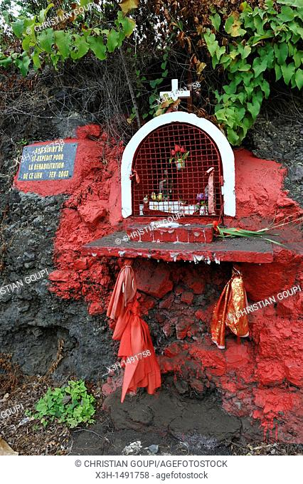 wayside shrine dedicated to Saint Expedit, Reunion island, overseas departement of France, Indian Ocean