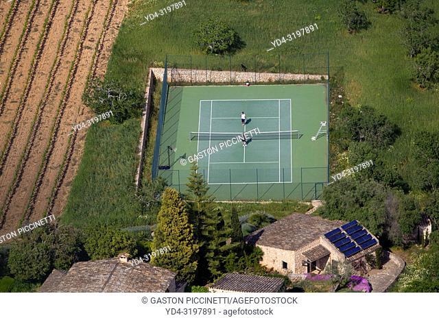 Aerial view of the Mallorca field, Balearic Island, Spain.